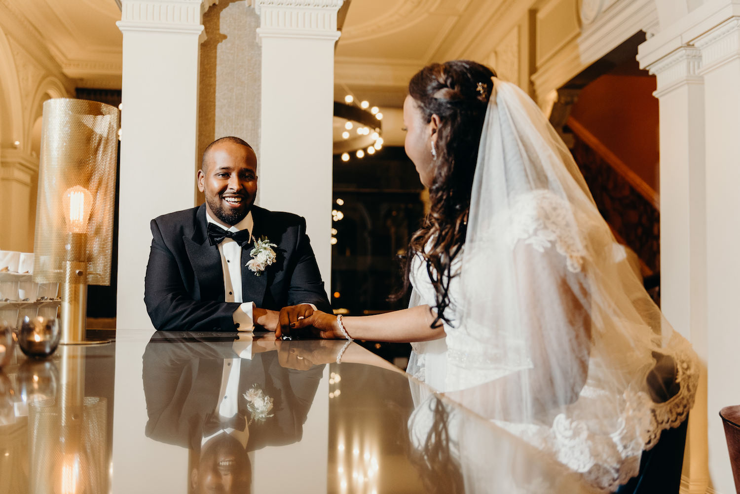 Modern and stylish Bride & Groom at 1901 Chic Lounge Bar