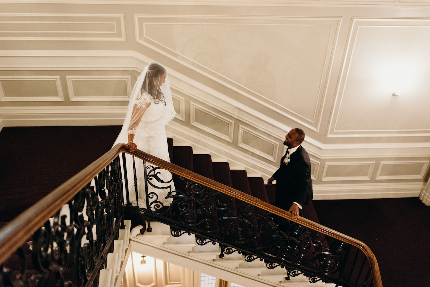 Romantic first look with Bride & Groom at 1901 Ballroom, Andaz London