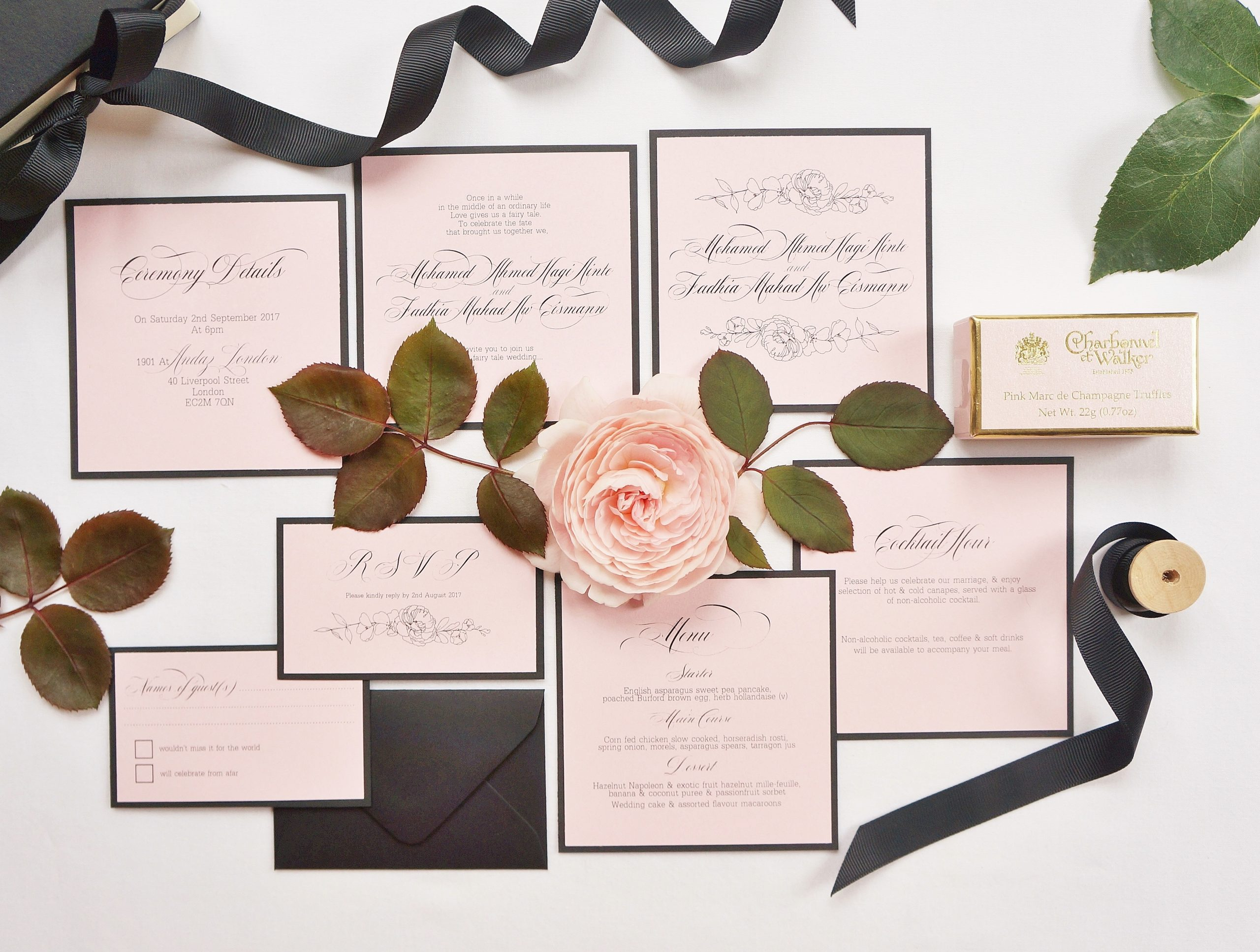 Romantic wedding stationary by Peonies & Paperclips with The Events Designers
