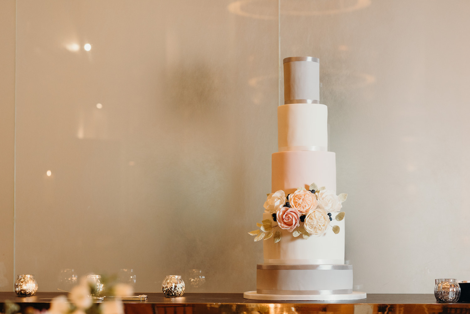 Stunning 4-tier luxury wedding cake designed with The Events Designers