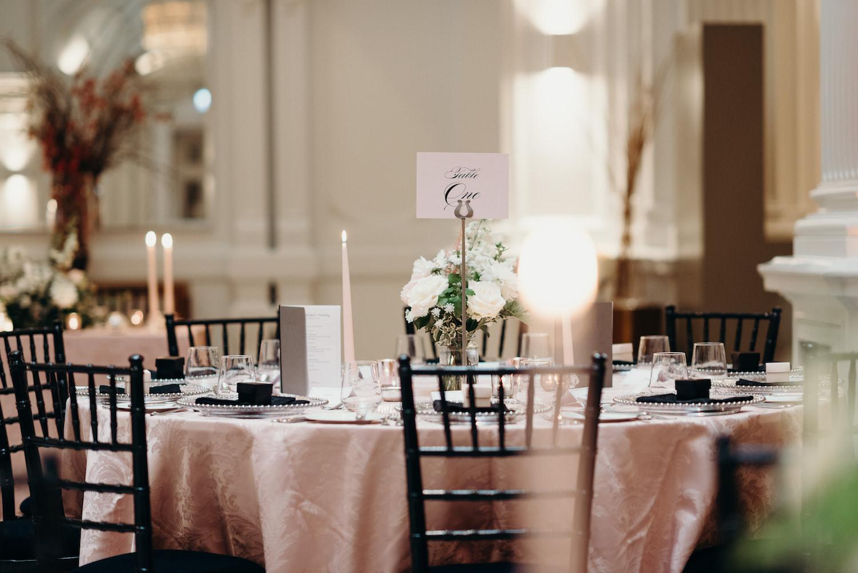 Modern and stylish London wedding tablescape at 1901 Ballroom Andaz London