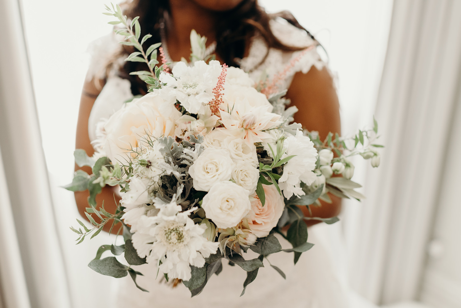 Luxury wedding bouquet fulled of roses and soft flowers